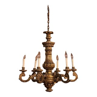 French Six-Arm Carved Giltwood Chandelier For Sale