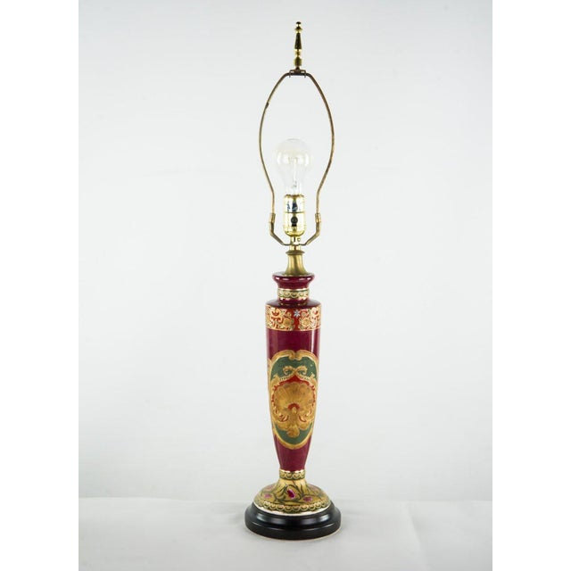 Antique Red Porcelain Vase Table Lamp For Sale - Image 4 of 11
