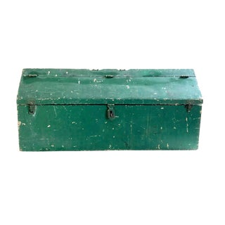 Vintage Rustic Painted Green Wood Tool Box For Sale