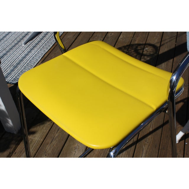 Yellow Italian Bar Stools in Polished Chrome by Hank Loewenstein - Set of 3 For Sale - Image 8 of 9
