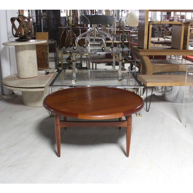 Danish Modern Reversible Flip-Top Danish Modern Round Teak Coffee Table For Sale - Image 3 of 9