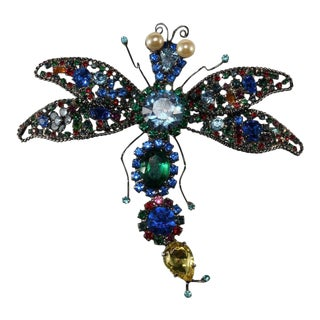 "Lawrence Vrba Huge 4.75"" Multicolor Rhinestone Dragonfly Brooch Pin For Sale"