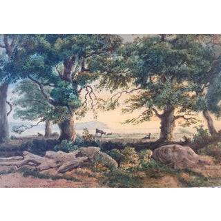 Antique French Landscape Watercolor by Rouet For Sale