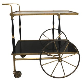 Midcentury Italian Brass Bar Cart by Morex For Sale