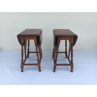 Small Miniature Drop Leaf Side Tables- a Pair Early 20th Century Vintage Preview
