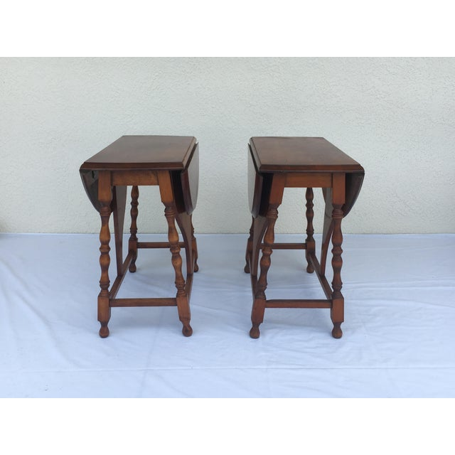This pair of drop leaf stands/ tables would be excellent for side tables by the couch or any other space in the home. They...