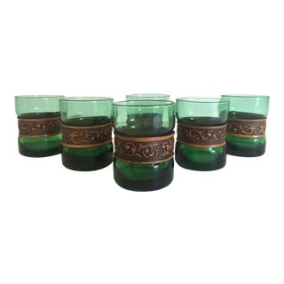 Vintage Mid Century Emerald Green & Banded Tooled Leather Short Wine Glasses - Set of 6 For Sale