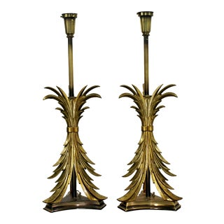 1980s Hollywood Regency Solid Brass Ornate Chapman Table Lamps - a Pair