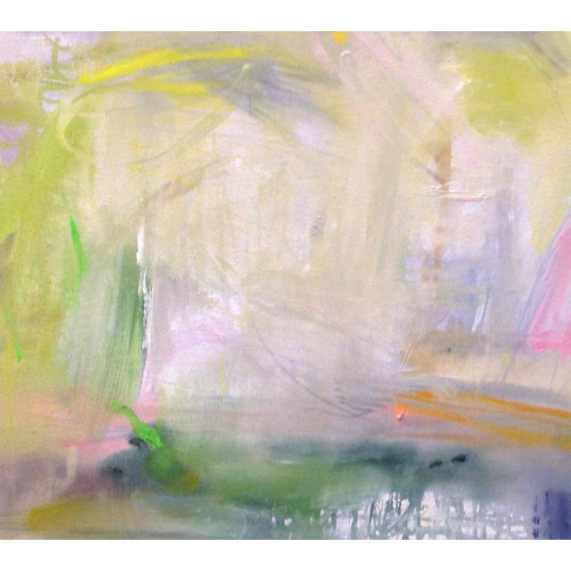 "Canvas Large Abstract Painting by Trixie Pitts ""Misty Morning"" For Sale - Image 7 of 8"