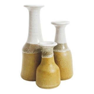 Vintage Triple Stoneware Studio Pottery Vase