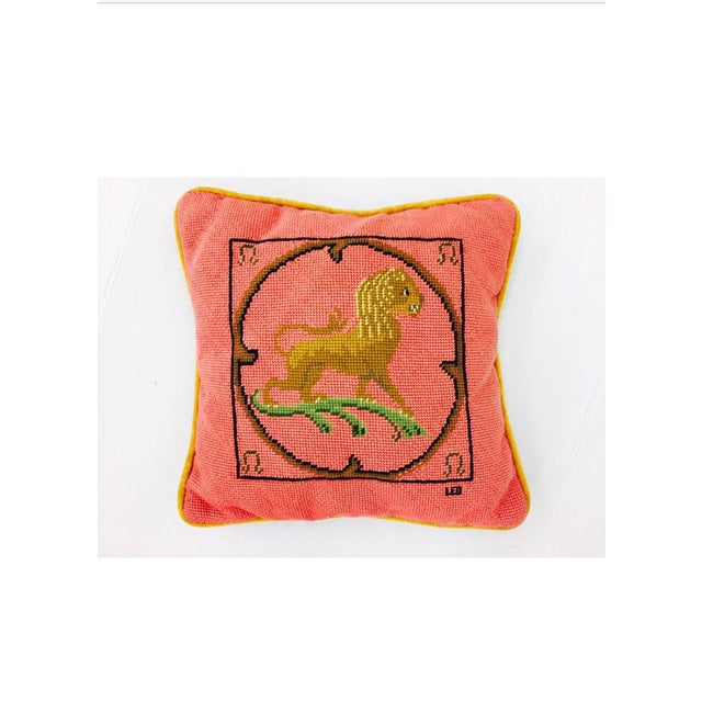 "Vintage Needlepoint ""Leo"" Lion Pillow - Image 3 of 7"