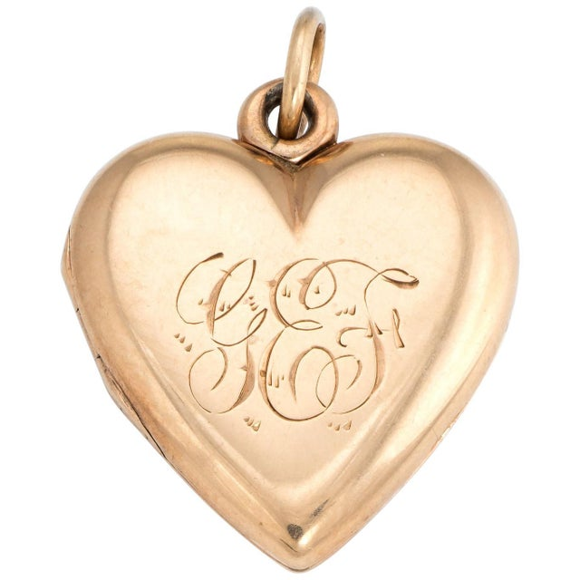 Late 19th Century Antique Victorian Heart Locket C1899 Pendant 14k Rose Gold Hair Jewelry Initials For Sale - Image 5 of 5