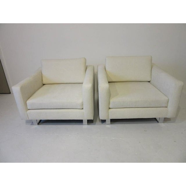 Silver 1970s Upholstered Club Lounge Chairs - a pair For Sale - Image 8 of 9