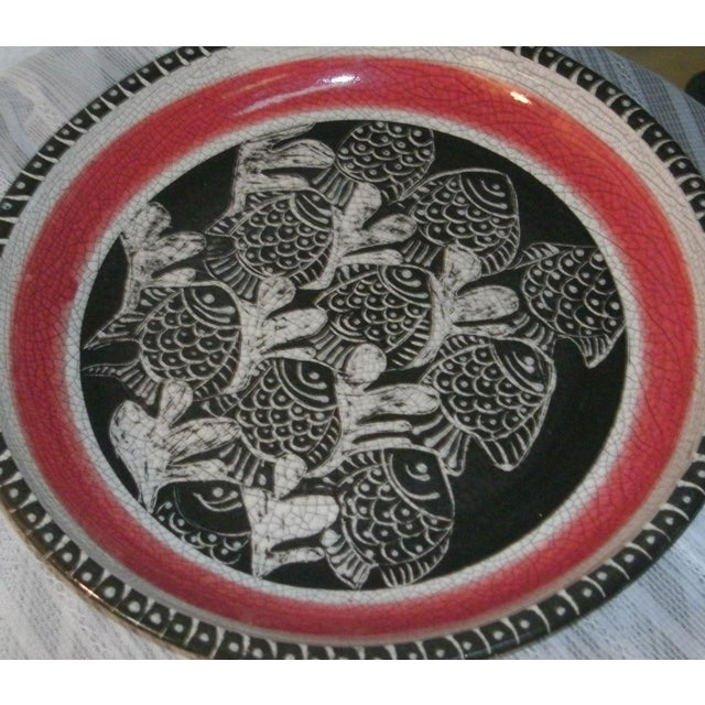 Large Deep Crackle Ceramic Swimming Fish Platter Hand Signed & Numbered For Sale In Las Vegas - Image 6 of 11