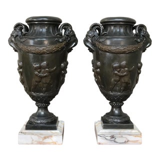 Pair 19th Century Spelter Mantel Urns on Marble Bases For Sale
