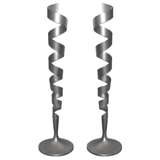 Spiral Floor Lamps - a Pair For Sale