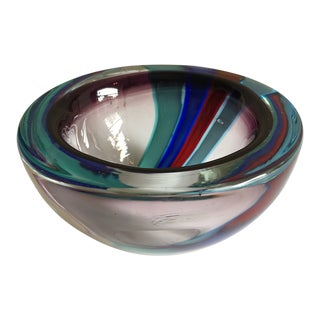 Vintage Arte Murano Icet Glass Bowl For Sale