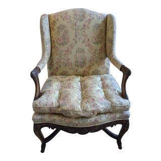 Vintage Heavily Carved Solid Oak Armchair W/Silk Asian Motif Fabric & Hoofed Feet For Sale