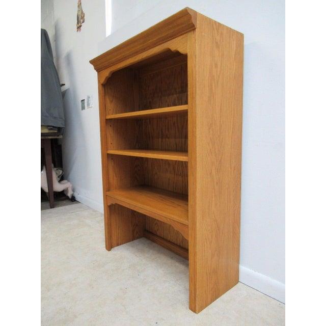 Ethan Allen Chippendale Canterbury Oak Dresser Hutch Top Shelf - Image 4 of 9