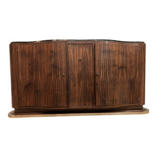 Art Deco French Zebrawood Buffet For Sale