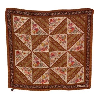Vintage Jean Patou Floral Silk Crepe Scarf For Sale