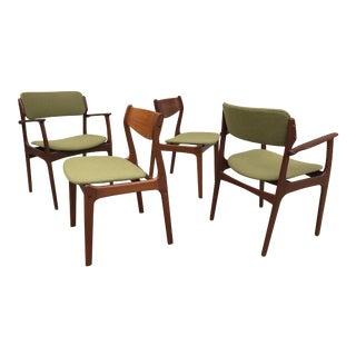 1950s Danish Modern Green Upholstered Teak Dining Chairs - Set of 4 For Sale