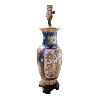 Antique Chinese Famille Rose Enameled Periwinkle Blue Porcelain Vase Lamp For Sale
