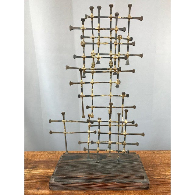 1960s Midcentury Large Brutalist Abstract Nail Art Sculpture For Sale - Image 5 of 12