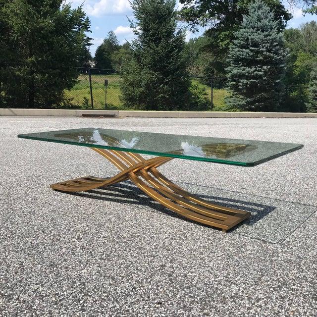 Vintage Hollywood Regency Gilt Slatted Steel Sculptural X Base Glass Top Coffee Table For Sale - Image 12 of 13