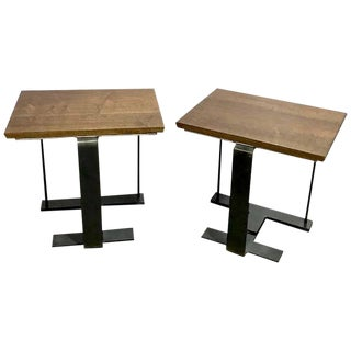 Mid-Century Modern Steel and Walnut Side Tables - a Pair For Sale