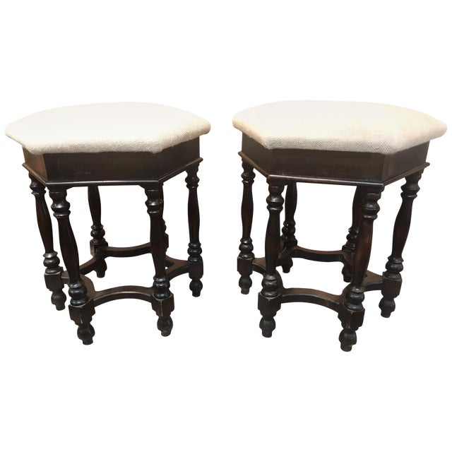 Pair of English Walnut Hexagonal Stools For Sale