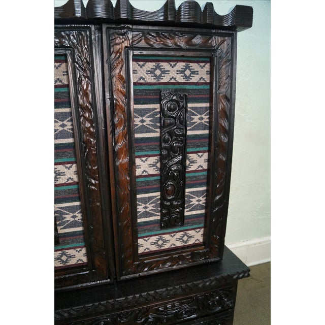 Witco Tiki Elvis Jungle Room Redwood Armoire - Image 6 of 10