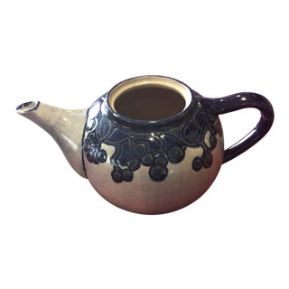 Vintage Mid-Century Gray & Blue Stoneware Teapot For Sale