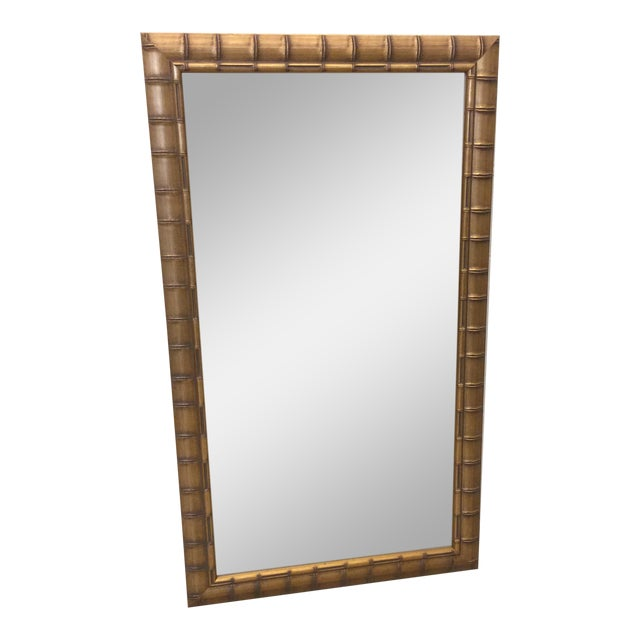 Gold Leaf Faux Bamboo Mirror - Image 1 of 8