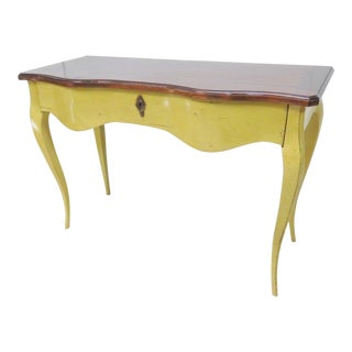French Mahogany & Yellow Console Table For Sale
