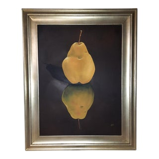 """Pear No. 1"" Contemporary Fruit Still Life Acrylic Painting, Framed For Sale"