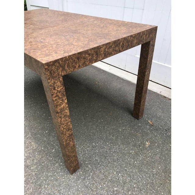 Mid-Century Modern Vintage Burl Wood Laminate Parsons Style Dining Table For Sale - Image 3 of 9