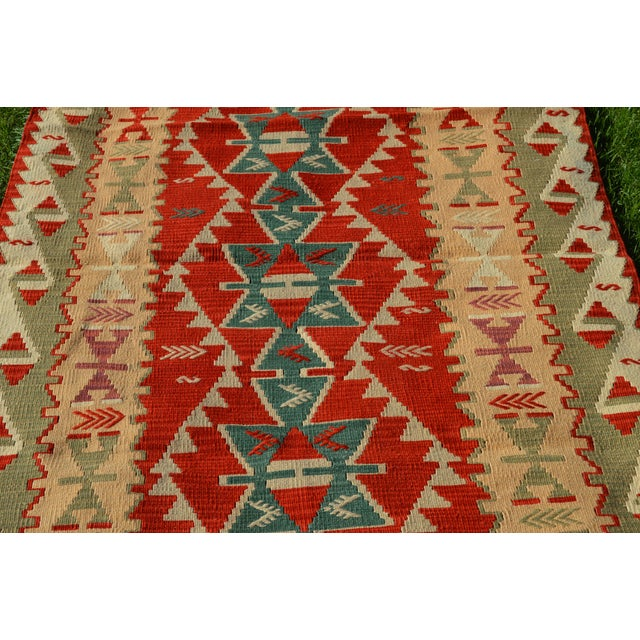 Textile Handmade Kilim Geometric Design Cappadocia Red Color Kilim Rug - 3′11″ × 5′10″ For Sale - Image 7 of 8