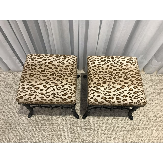 Pair of vintage faux bamboo footstools recently reupholstered with Schumacher fabric. The fabric has velvet mixed with...