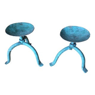 Green Vintage Metal Candleholders - a Pair For Sale