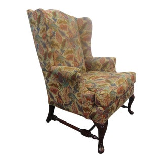 Custom Queen Anne Mahogany Wing Chair For Sale