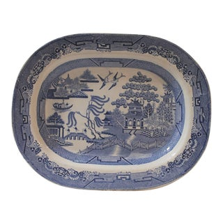 Early 19Th C Monumental English Blue Willow Turkey Platter For Sale