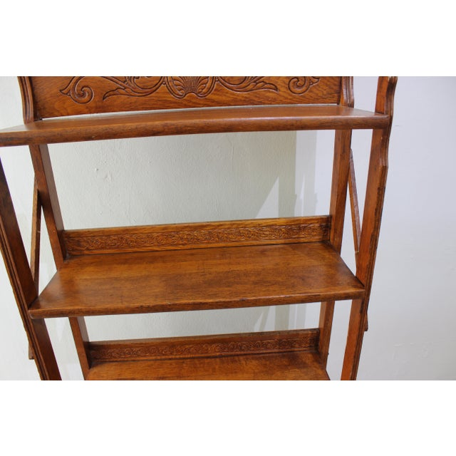 Victorian Antique Victorian Folding Bookcase in Incised Oak For Sale - Image 3 of 13