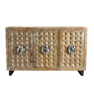 Mango Wood 3 Door Sideboard, Storage Organizer, Credenza, Living Room, Rustic Look-White Wash For Sale