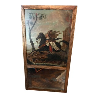 Late 19th Century Antique French Oil Painting Trumeau Mirror For Sale