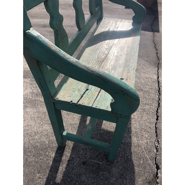 Rustic Distressed Turquoise Antique Santa Fe Bench For Sale - Image 3 of 13