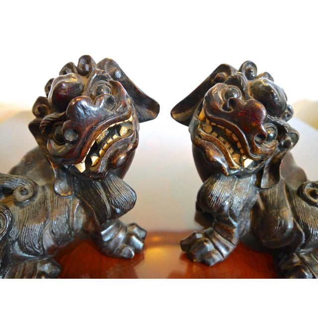 Hand Carved Wooden Foo Dogs- a Pair For Sale In Raleigh - Image 6 of 6