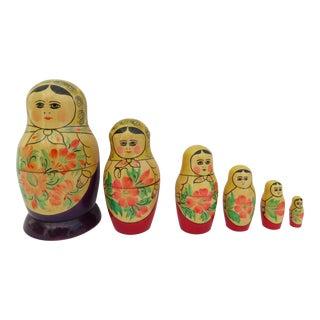 Mid-Century Hand Made Russian Nesting Dolls - Set of 6