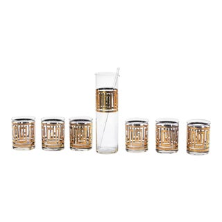 Mid-Century Greek Key 22k Gold Cocktail Mixer and Rocks Glasses - Set of 8 For Sale
