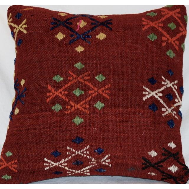 Vintage Handmade Wool Decorative Boho Pillow - Image 5 of 7